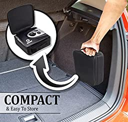 One Day Sale - Digital Tire Inflator - Portable Air Compressor for cars with Tire Gauge. High pressure 12V car air pump - Up to 150 Psi, Automatic Shut Off & SOS Flashlight,Carry Case Bonus by Kiasaki