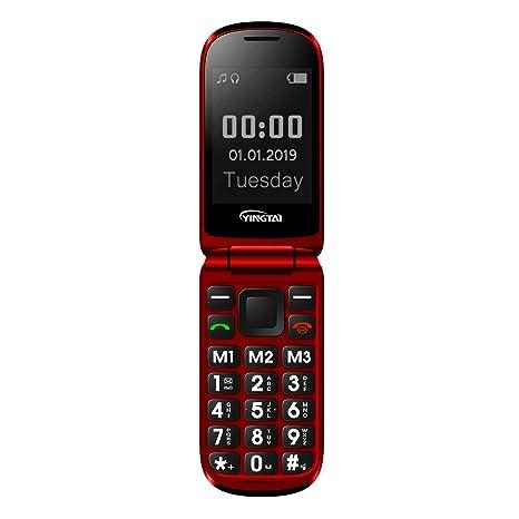 YINGTAI T09 Teléfono Móvil de Tapa con Teclas Grandes para Mayores con SOS Botones (Rojo