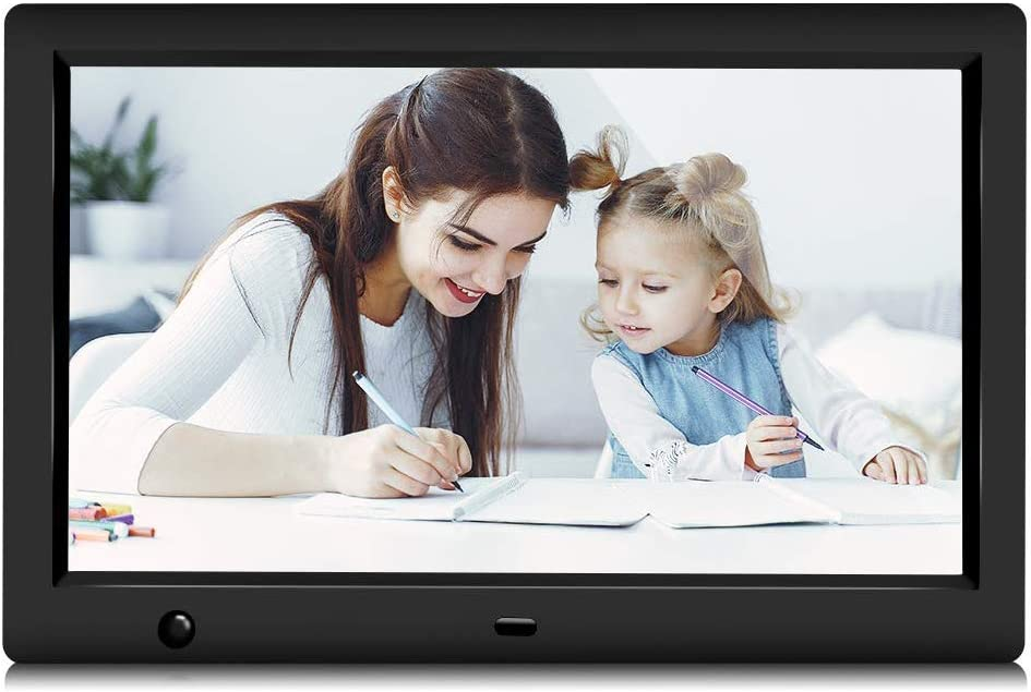 GRC 10.1 Inch IPS 1080P HD Display Digital Photo Frame with Motion Sensor and Remote Control, Video Player/Stereo/ MP3/ Time, Digital Picture Frame Support USB SD Slot