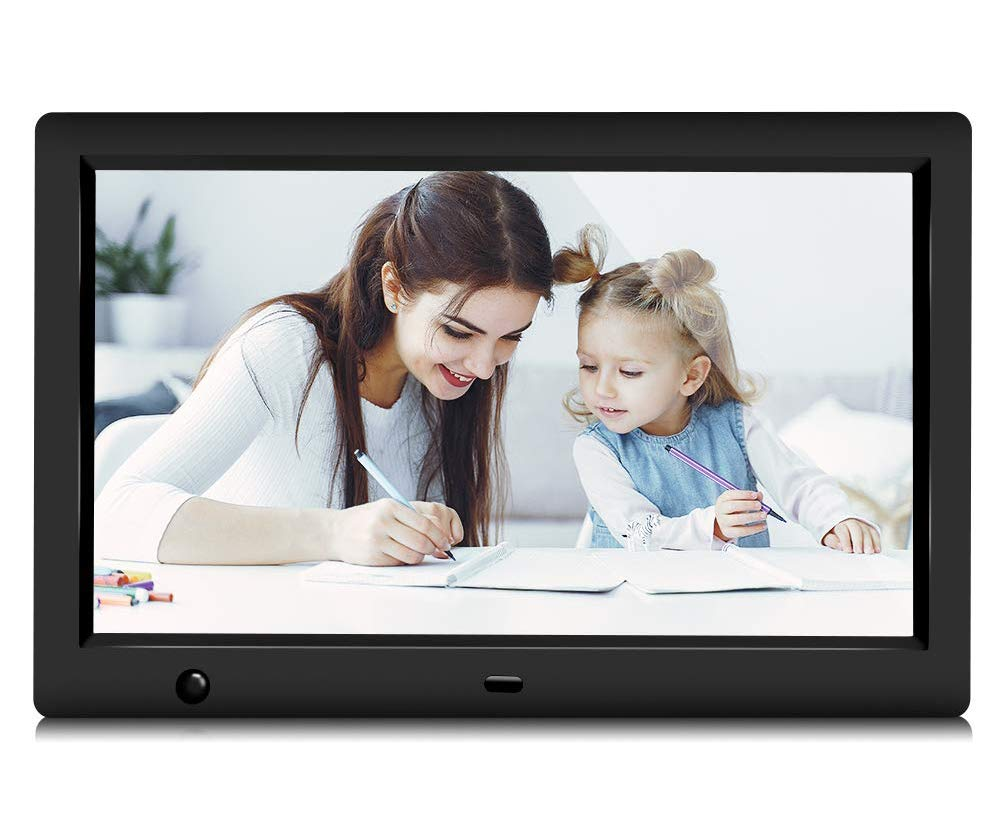 GRC Digital Picture Frame, 10.1 Inch 1920x1080 IPS HD Display Digital Photo Frame with Motion Sensor and Remote Control, Video Player/Stereo/ MP3/ Time, Digital Picture Frame Support USB SD Slot