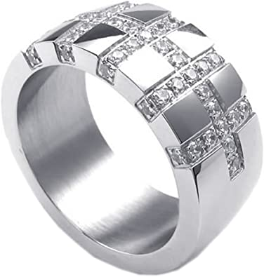 Men/'s Stainless Steel 316L Black CZ Cubic Zirconia Cross Ring and Band 11mm