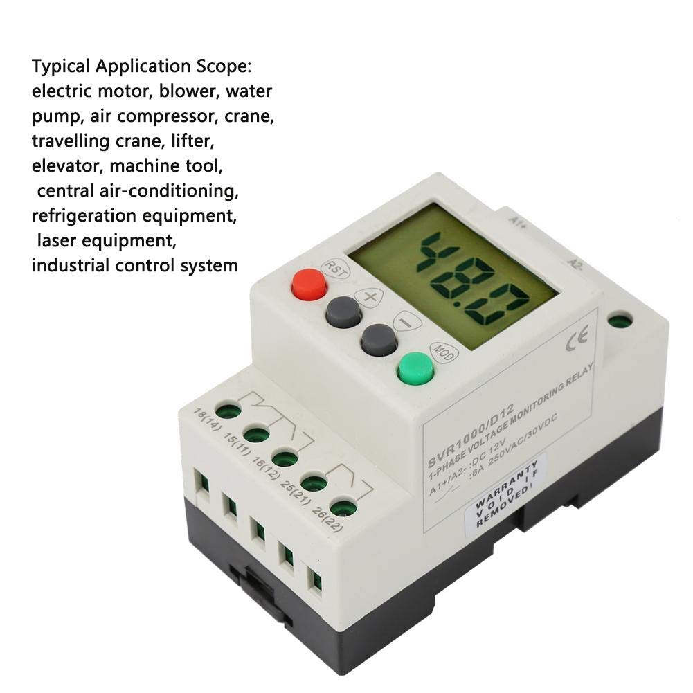Acogedor Voltage Monitoring Relay, SVR1000 Single Phase Over-Voltage Under-Voltage Protection Relay, 35MM Guide Rail D12