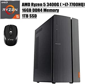 2020 Newest Lenovo IdeaCentre 510A Desktop Computer, AMD Quad-Core Ryzen 5 3400G (Beats i7-7700HQ), 16GB DDR4 1TB SSD, USB 3.0 DVD HDMI WiFi Wired Keyboard and Mouse Win 10 + iCarp Wireless Mouse