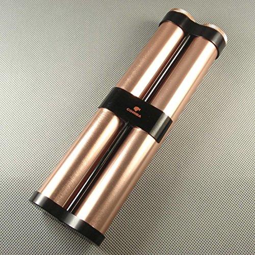Rose Gold Aluminium Alloy Cigar Twin Tube Cigar Humidor NEW in Gift Box