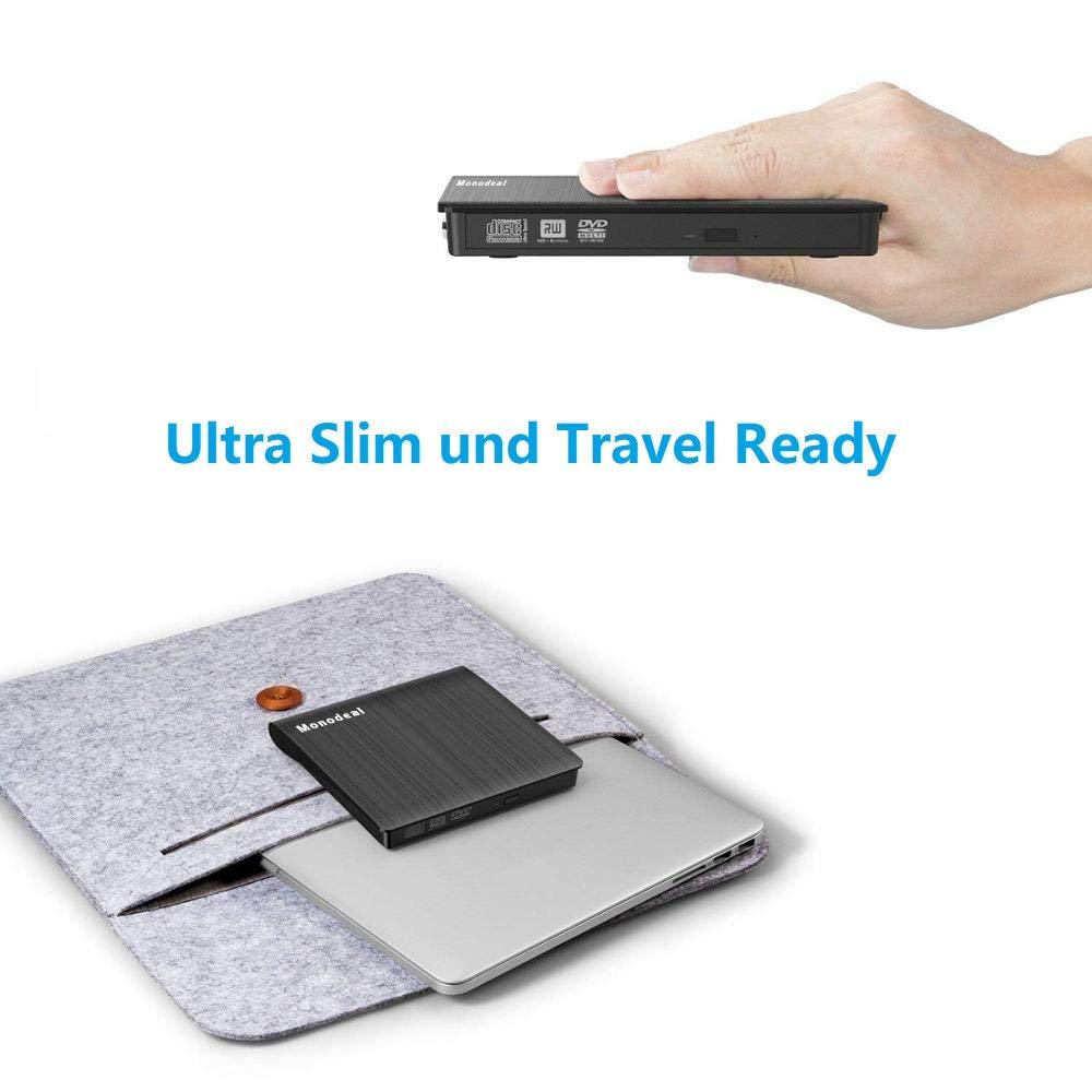 Externes CD- & DVD-Laufwerk Portable USB 3.0 DVD/CD Laufwerk für alle Laptops und Desktops Kompatibel für MacbookAir Windows XP/2003/Vista/7/8/10, Mac OS - Schwarz