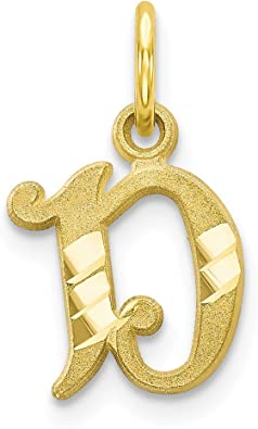 10k or 14k Real Gold Unique Design Letter M Initial Charm Pendant