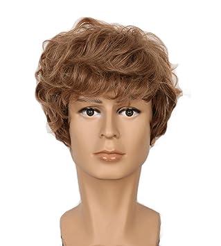 Amazon.com: yuehong Hombres Corto Rizado Rubio pelucas ...