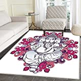 Elephant Area Rug Elephant Figure over Floral Colorful Mandala Pattern Eastern Faith Symbol Print Indoor/Outdoor Area Rug 2'x3' Pink Grey