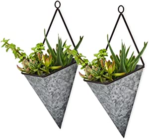 Mud Garden 2 Pack Large Galvanized Metal Wall Hanging Planters Indoor and Outdoor Fits 3 Succulents, Flowers, or Herbs Wall Mounted Country Decor Hanging Wall Vase