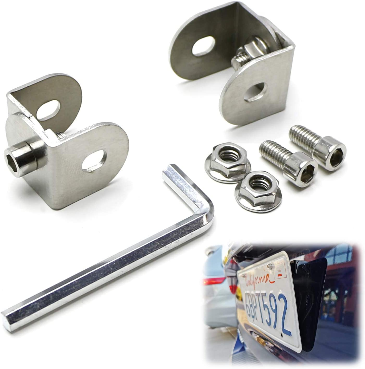 Angle Front Bumper License Plate Relocation Bracket Adapter Silver For Toyota