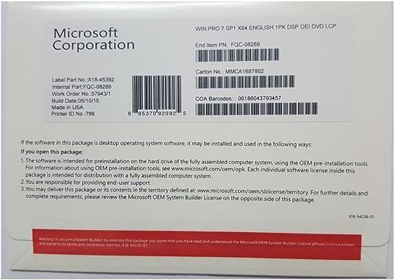 Amazon Com Windows 7 Professional Sp1 64bit Oem System Builder Dvd 1 Pack New Packaging