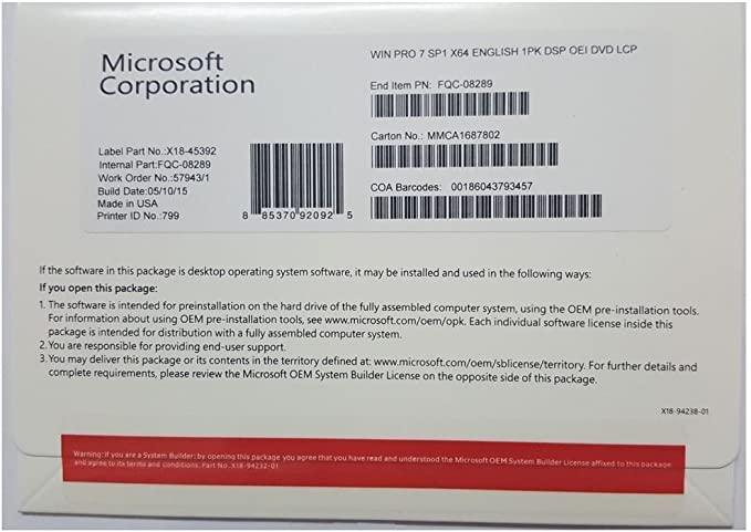 Microsoft Windows 7 Professional 64 Bit SP1 Full Version New Sealed