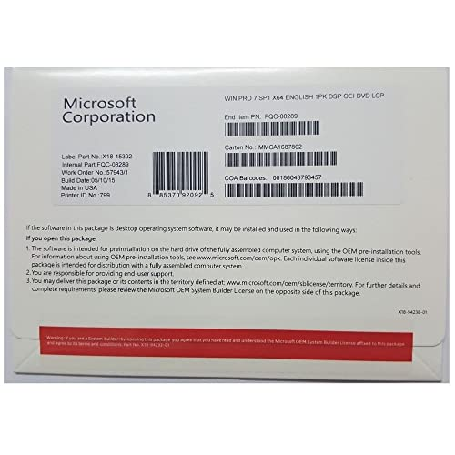 Microsoft Windows 7 PRO SP1 64-bit - Sistemas operativos (Original Equipment Manufacturer (OEM), ENG)