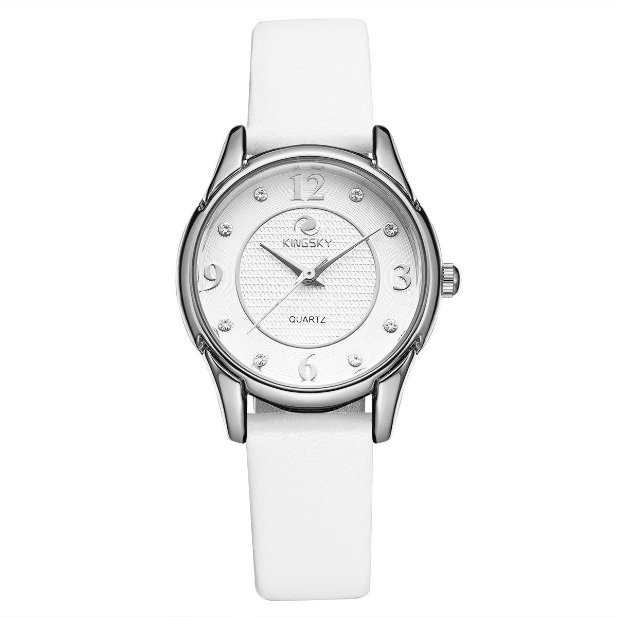 Kingskyレディースカジュアル本革ストラップ日本インポートQuartz Movement Wrist Watches big シルバーホワイト B0776PSJM4 シルバーホワイト シルバーホワイト