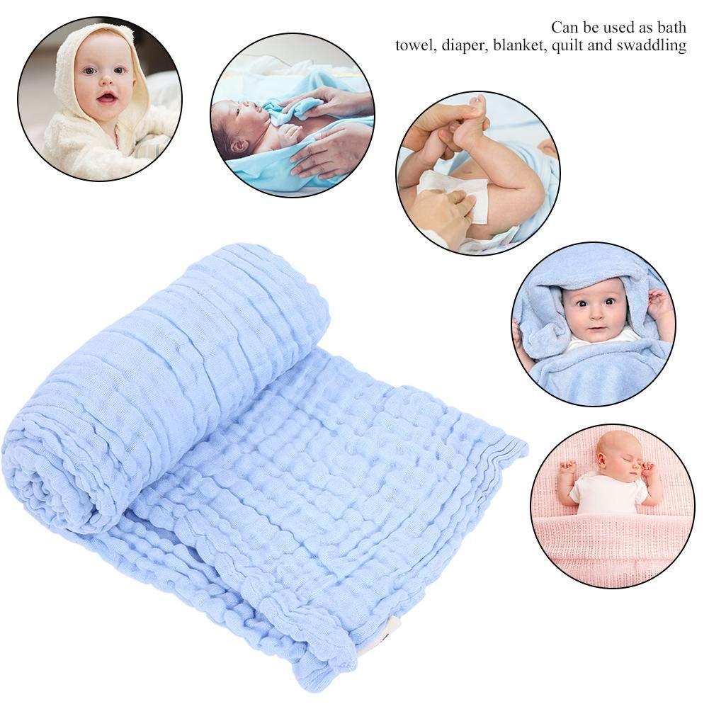 Baby Bath Towel 6-Layer Cotton Multifunctional Breathable Quilt Gauze Blanket Towel Light Blue