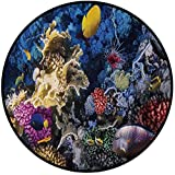 Printing Round Rug,Ocean,Colorful Coral Reef and Fishes Colony in Red Sea Egypt Africa Underwater Life Image Mat Non-Slip Soft Entrance Mat Door Floor Rug Area Rug For Chair Living Room,Multicolor