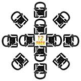 Kit of 16 Attachments for Tactical Molle Pouch Bags Backpack Vest-Grimloc Locking D-Ring Molle Elastic Strings Strap Management Tool 360 Rotation D-Ring Clips (12 Pack 360 Rotation D-ring Clips)