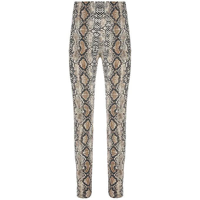 209646ed2392 Orangeskycn Women Slim Snakeskin Print Elastic Waist Casual Pants Leggings  Trousers Bodycon Catsuit at Amazon Women's Clothing store:
