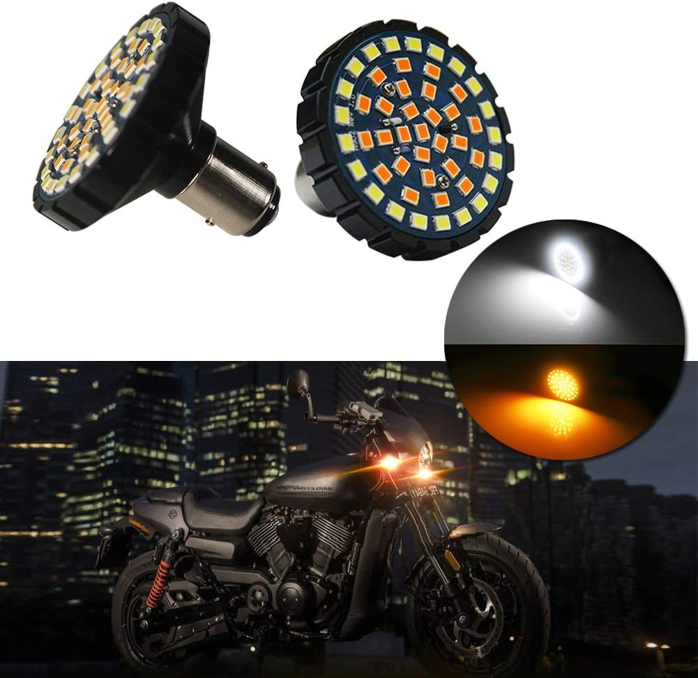 Miniclue 2-Inch White//Amber Switchback 1157 LED Front Turn Signal Light Bulbs For Harley Davidson,Full Can-bus No Hyper Flash No Resistor Required Replacements