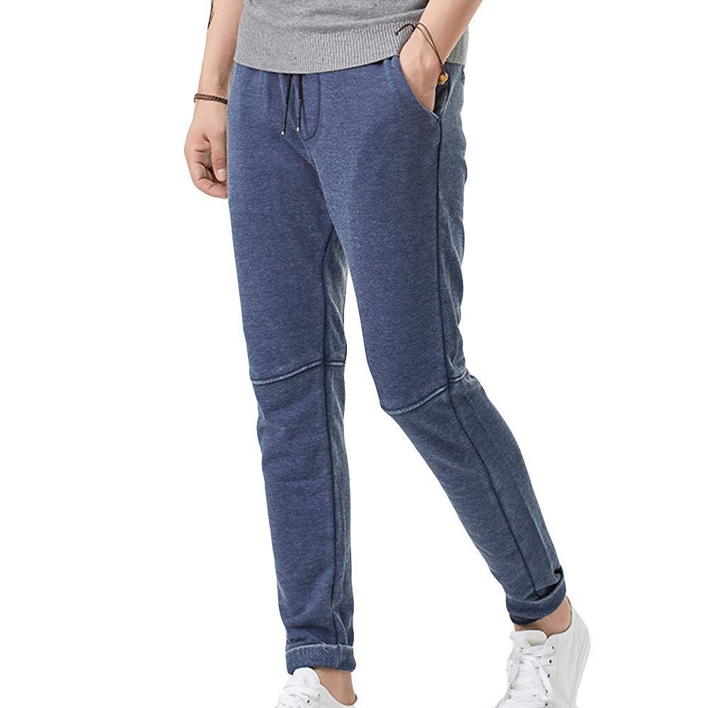 Winter Men Sweatpants Hot Sale Fashion Elastic Belts Small Feet Casual Sport Long Pants