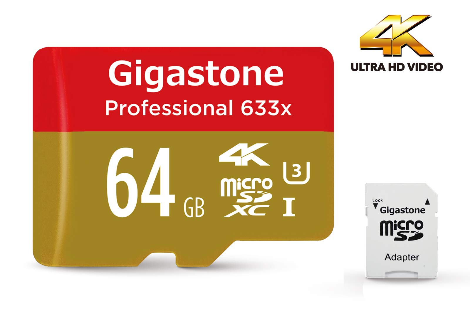 Gigastone Pro 64GB Micro SD Card UHS-I U3 up to 95MB/s with Adapter, Rexing, Dashcam, GoPro, Camera, Samsung, Canon, Nikon, DJI, Drone, 4K Ultra HD