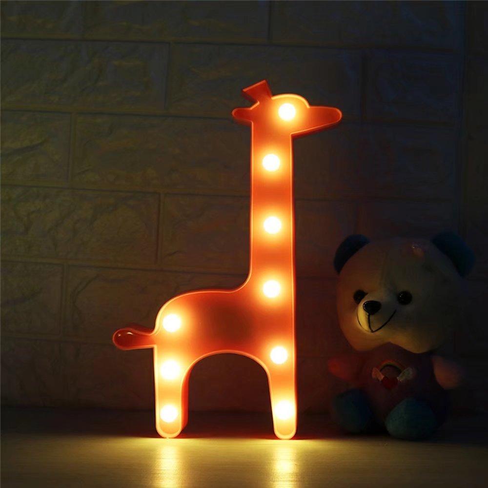 CSKB Animal Marquee Sign Led Light, Giraffe LED Light Table Lamp, Home Decoration Animal Light for Living Room,Bedroom,Home, Christmas Kids Toys Pink