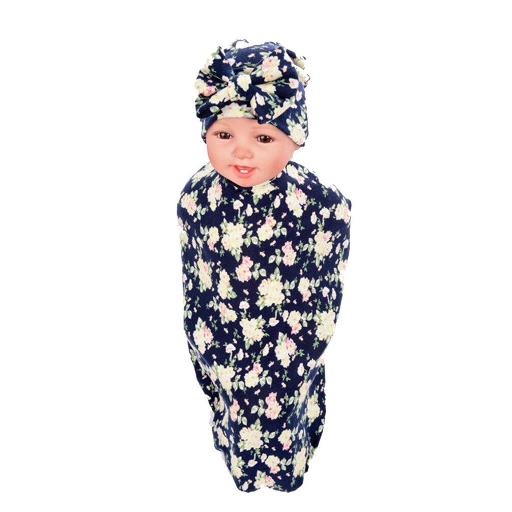 Hcside Newborn Infant Baby Swaddle Cotton Bath Towel Receiving Blankets Floral Print Hat Set