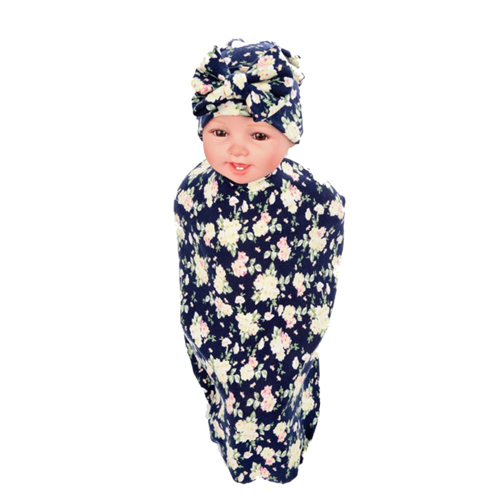 Hcside Newborn Infant Baby Swaddle Cotton Bath Towel Receiving Blankets  Floral Print Hat Set (Dark blue) 8f6feb37c