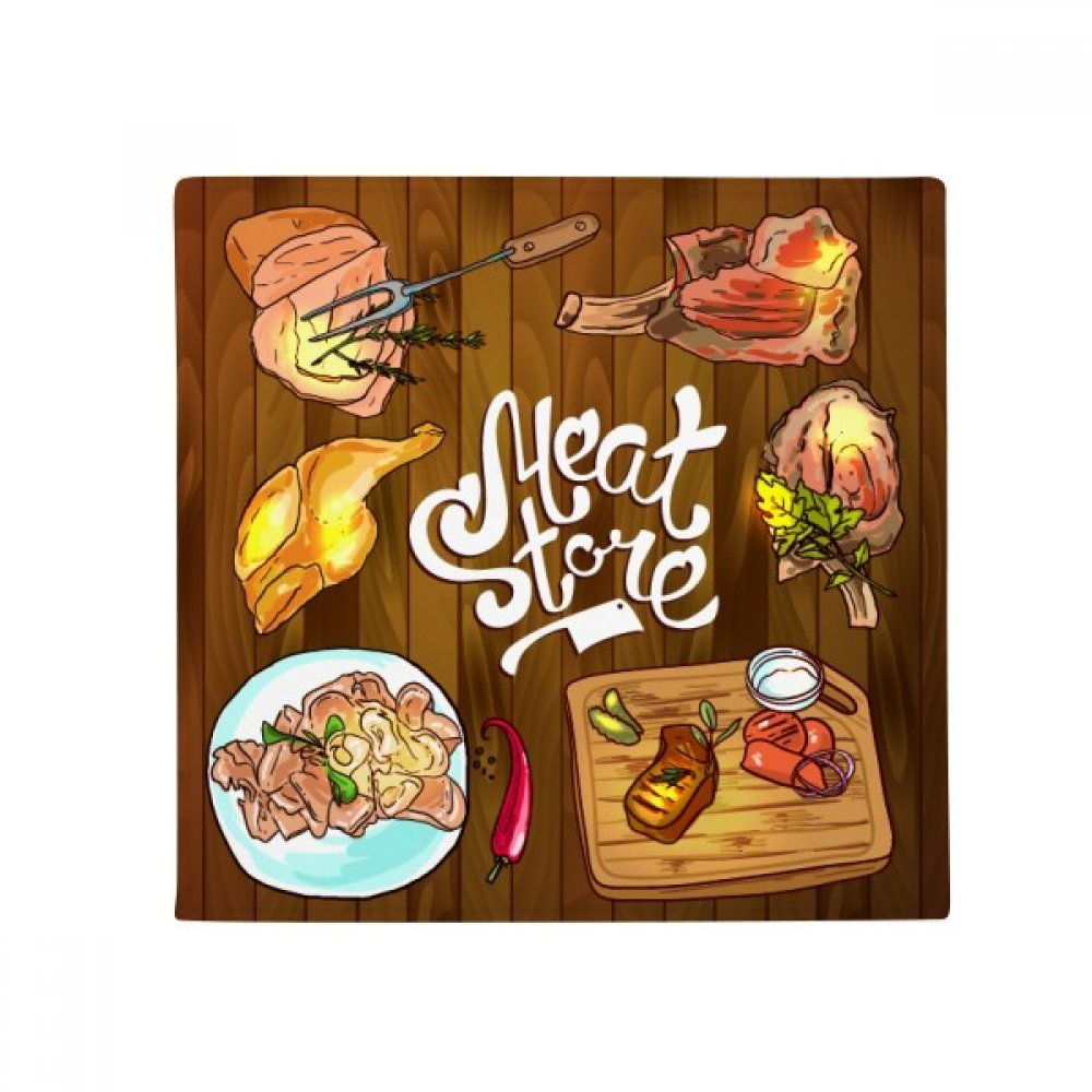 DIYthinker Meat Store Barbecue Steak Anti-Slip Floor Pet Mat Square Home Kitchen Door 80Cm Gift