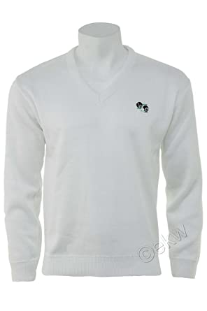 New Unisex//Mens//Womans//Ladies Lawn Bowling Bowlswear Bowls 100/% Arcylic V Neck Pullover Jumper Ribbed Hem and Cuffs Embroidered Bowls Logo Large, White