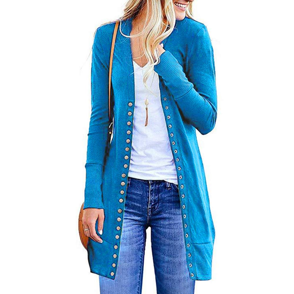 bluee EVA TRENDS Women Long Sleeve Snap Button Cardigan   Solid color Vneck Knitted Sweater