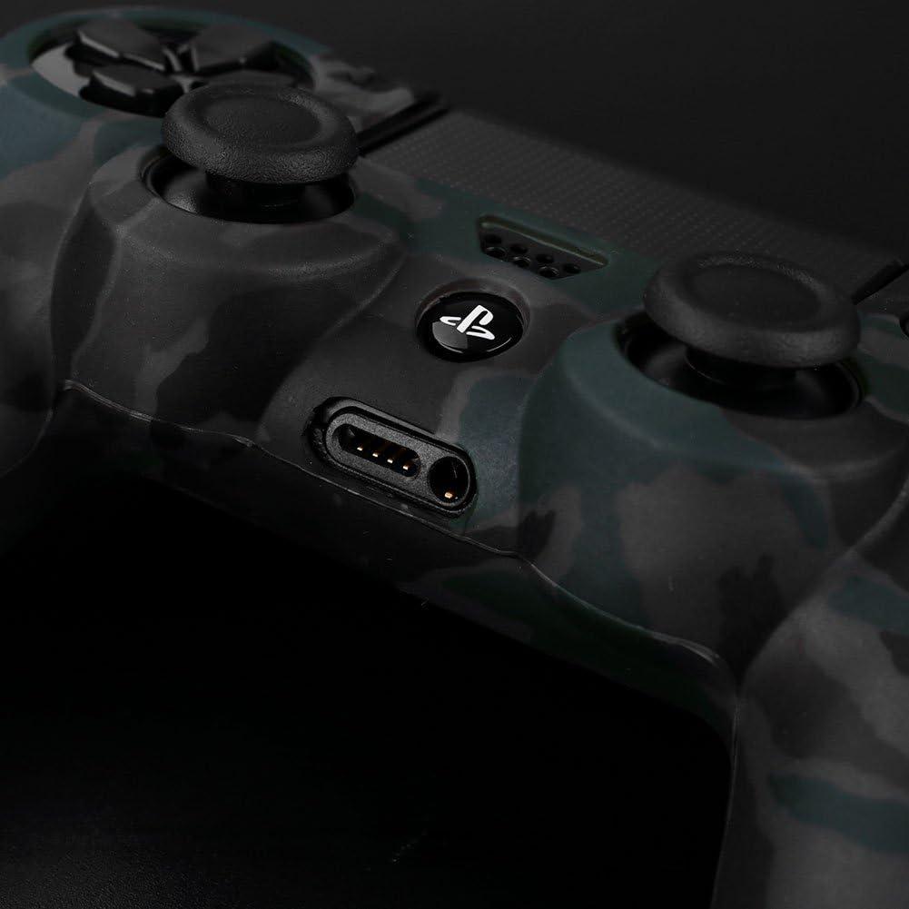 Cewaal Cas de couverture de poignée de peau de douille de caoutchouc de silicone de camouflage Pour le contrôleur PS4 Camouflage gray