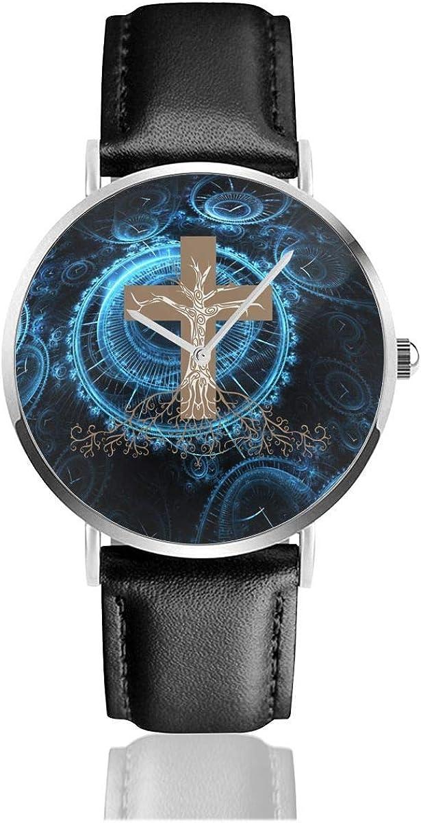 Enraizado en Cristo Reloj de Correa de Cuero Cristiano religioso Reloj de Pulsera de Cuarzo de Acero Inoxidable Casual Correa de Cuero Negro y Esfera Delgada