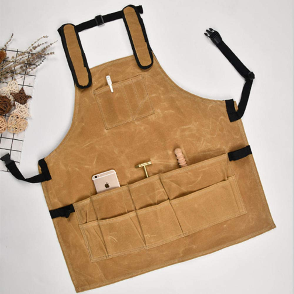 Jenny.Ben Tool Apron Male and Female Oil Wax Dry Wax Wet Wax Apron Work Multi-Pocket Tactical Apron Brown by Jenny.Ben