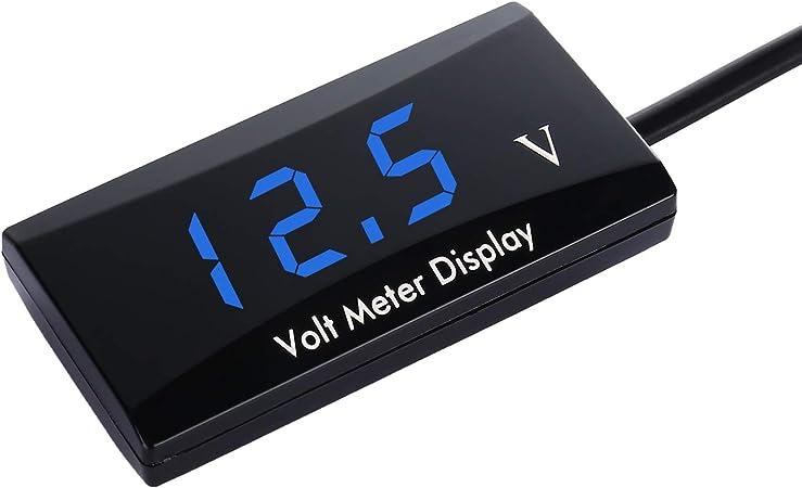 Thlevel Dc 12v Auto Digital Voltmeter Spannungsanzeige Messgerät Für Auto Motorrad Blaue Led Auto