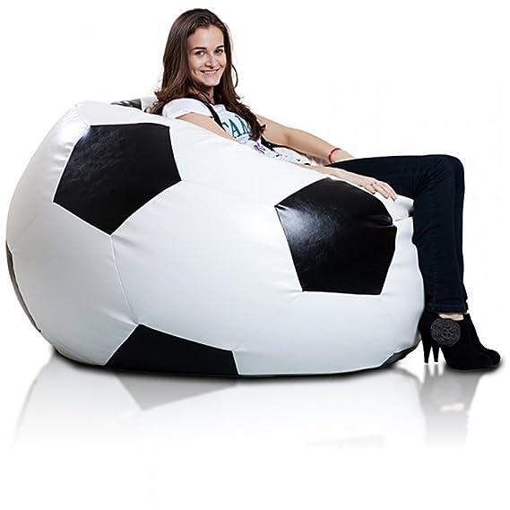 JUSTyou Pelota de fútbol XXXL Puff Cojín Gigante de Piel ecológica Color