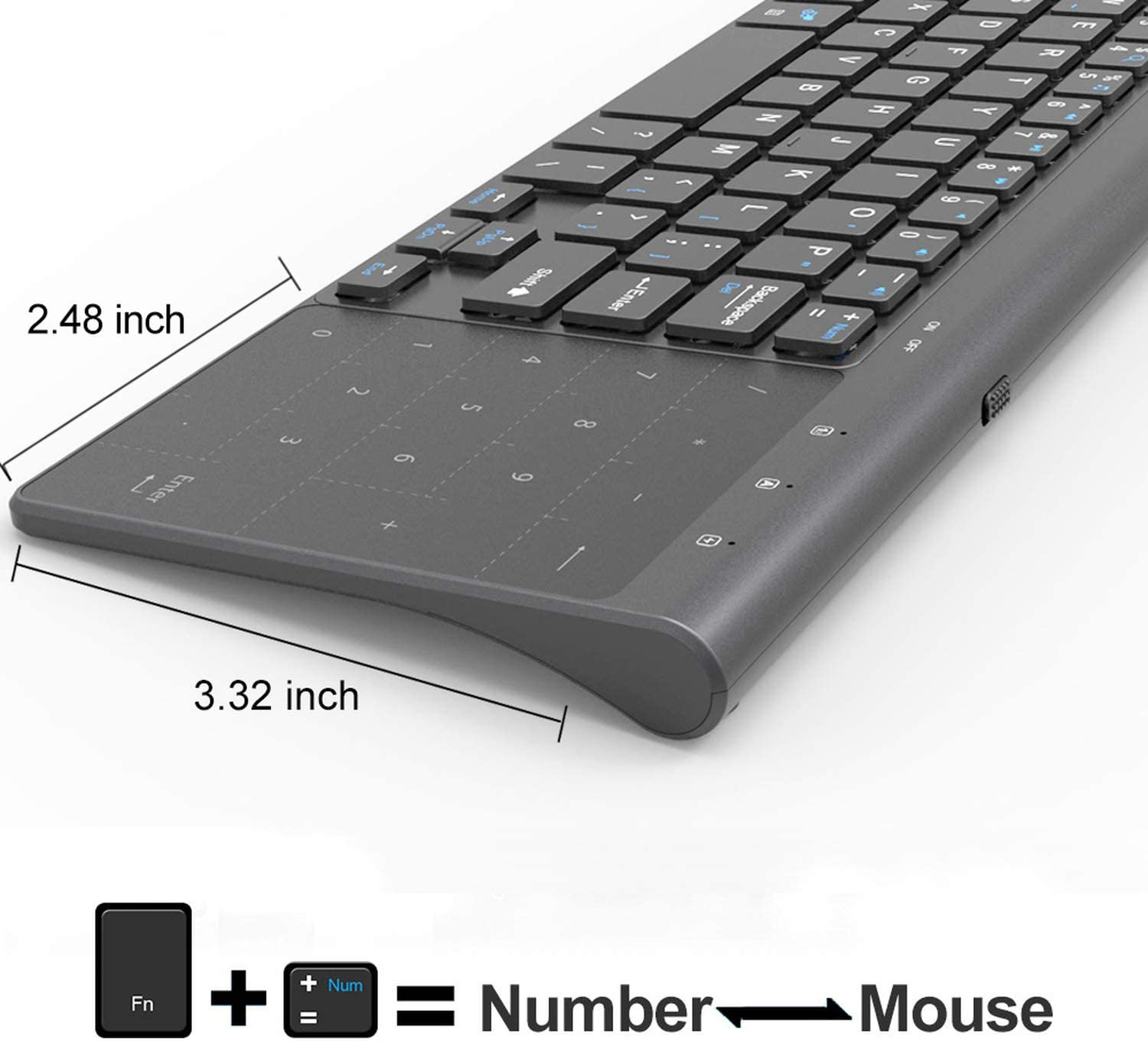 Meidly 2.4Ghz USB Wireless Mini Keyboard with Number Touchpad Numeric Keypad for Android Windows Tablet,Desktop,Laptop,PC