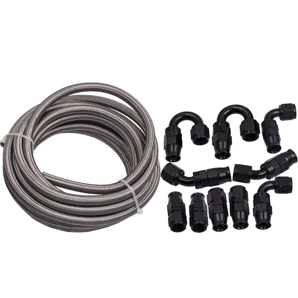 20FT/6M AN8 Stainless Steel PTFE Fuel Line Fitting Hose End Ethanol Kit Swivel by Carsparadisezone (Image #4)