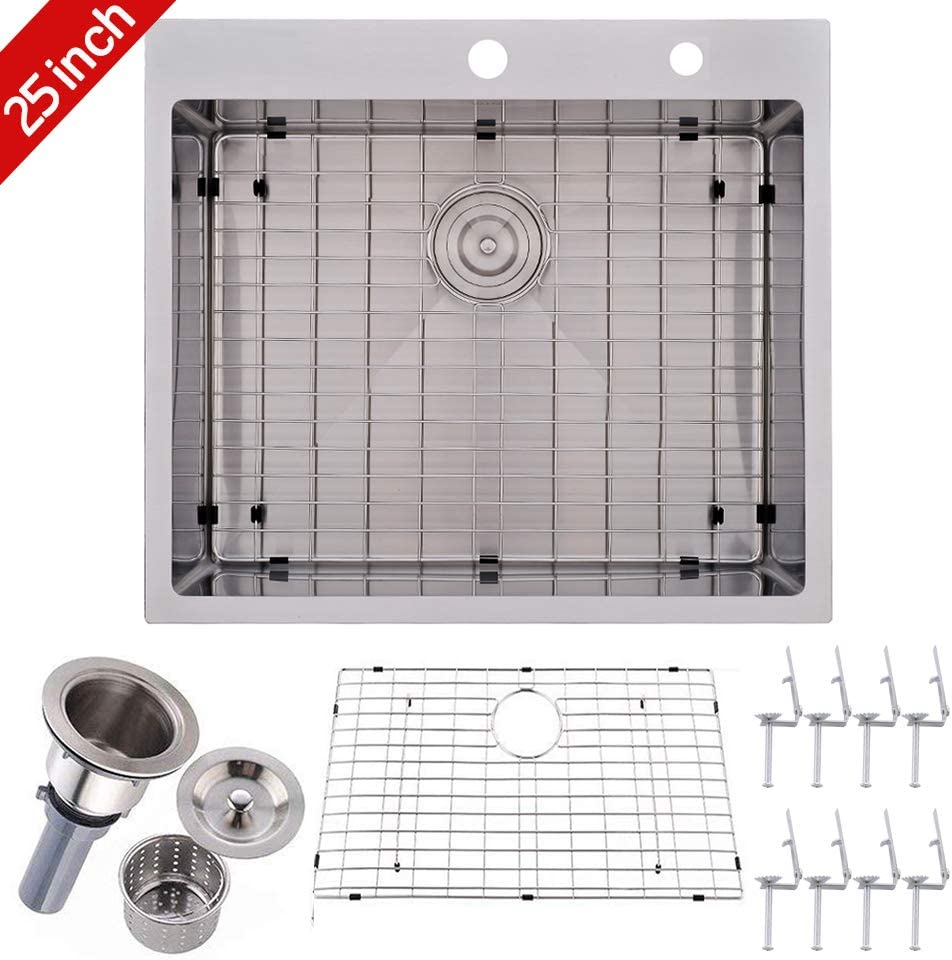 VALISY 25 inch Topmount 16 Gauge Stainless Steel Extra-thick Drop In Brushed Nickel Single Bowl Kitchen Sink, Dish Grid and Basket Strainer Included
