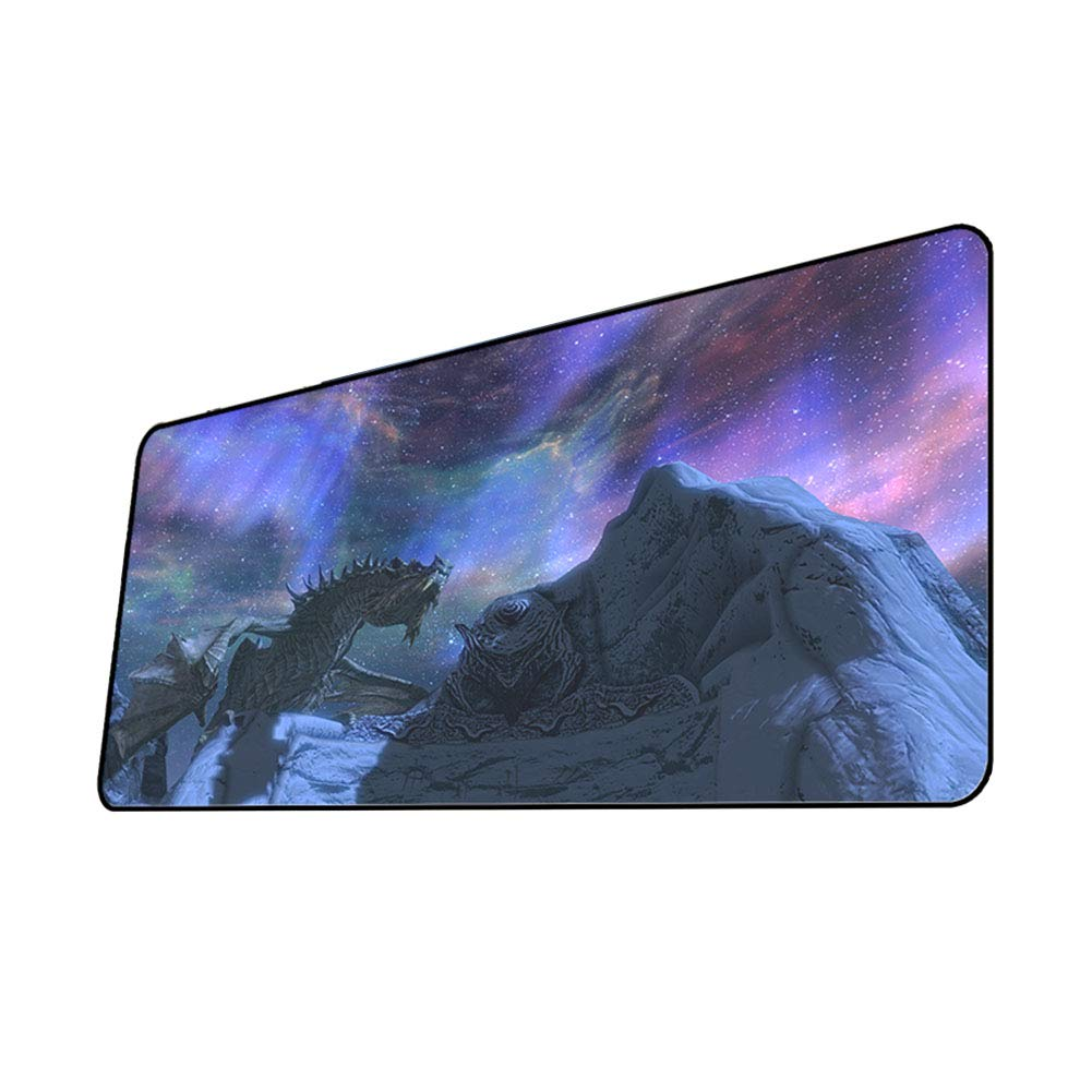 QOGER Elder Scrolls V Sky Mouse Pad, Oversized Anime Game Keyboard Pad, Gift Mat, Thickened/Slip/Clocked-41-70x40cm by QOGER