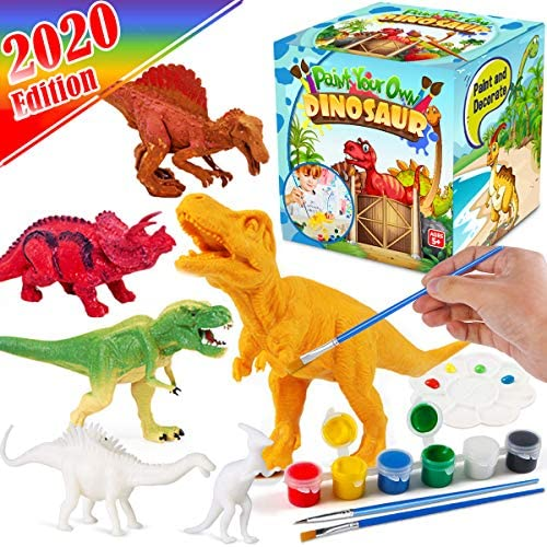 FunzBo Kids Crafts and Arts Set Painting Kit – Dinosaurs Toys Art and Craft Supplies Party Favors for Boys Girls Age 4 5 6 7 Years Old Kid Creativity DIY Gift Easter Paint Your Own Dinosaur Animal Set