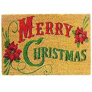 Felpudo tradicional de navidad, fibra de coco, reverso de PVC