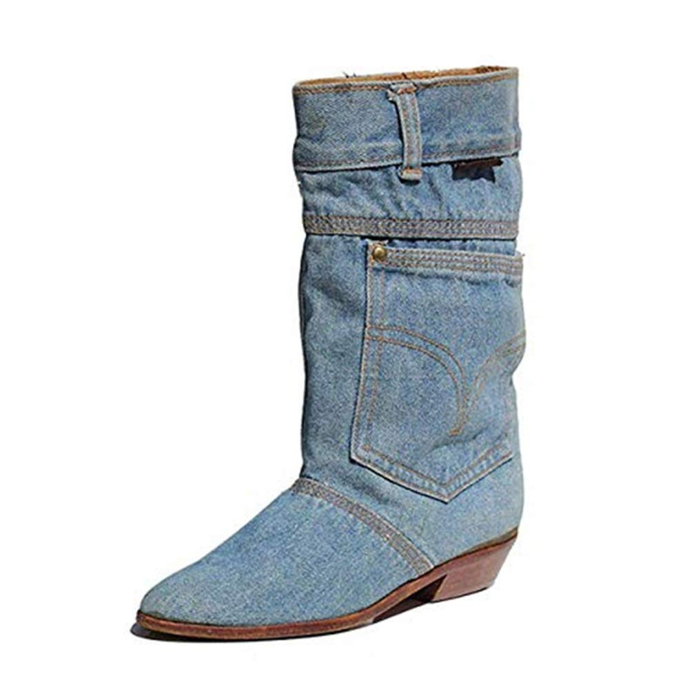 Women's Booties, Fall/Winter Mid Waist Low-Heeled Cowboy Casual Fashion Boots Cloth Round Head Non- Slip Shoes (Color : Blue, Size : 34) HEmei