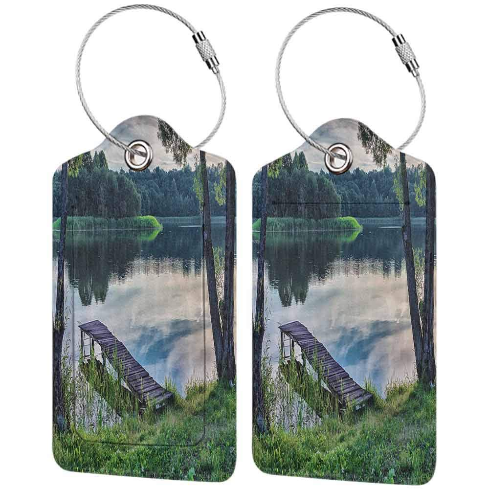 Waterproof luggage tag Nature Decor Natural Theme The Lake and a Wharf in the Forest Cloudy Sky Pattern Soft to the touch Fern Green and Beige W2.7 x L4.6