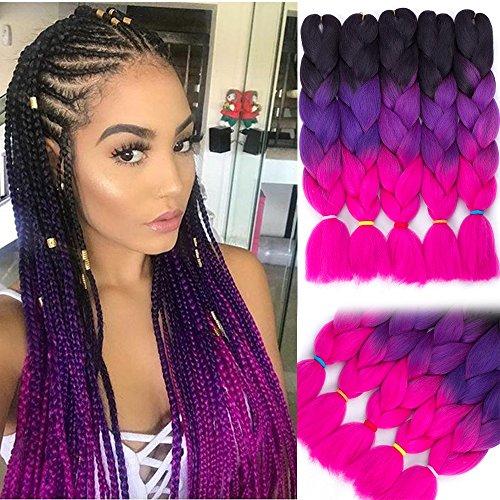 24Inch 5Pcs Ombre Jumbo Braiding Hair Pieces Crochet Box Braids Twist Hair Extensions (3 Tone Black-Purple-Rose) ()