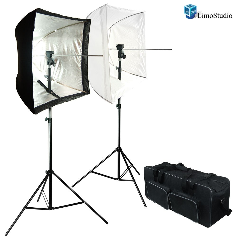LimoStudio PhotoStudio Kit with (2X) 7 Foot Stands with Brackets, 24-Inch White, Square Reflector Umbrellas, and Flash Reflector Softbox Diffuser. Comes with a Double Pouch Carry Bag, AGG1376