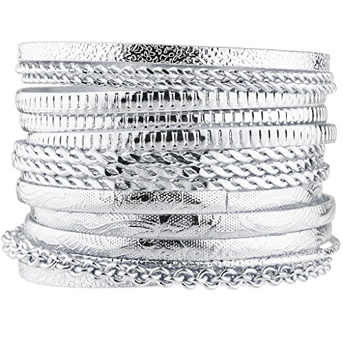 Multi Bangle Set (Lux Accessories Silver Tone Aztec Etched Cased Chain Multi Bangle Set of 15)