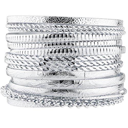 Multi Set Bangle (Lux Accessories Silver Tone Aztec Etched Cased Chain Multi Bangle Set of 15)