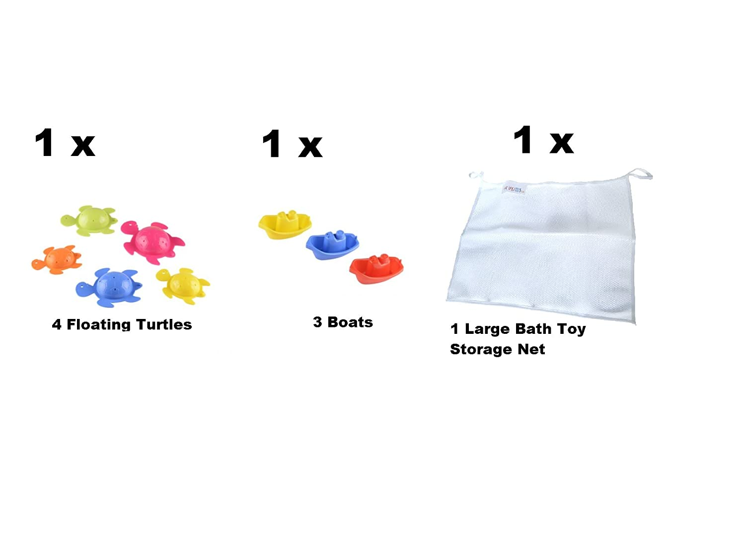 Bath Toys Boats Turtle for Kids children bath time fun Playset With bath toy Storage net UMKYTOYS