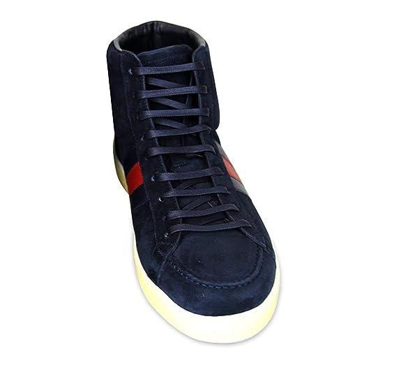 Gucci Marina de Guerra Ante Cuero Brb Web Detalle Hightop Sneakers 337221 (8.5 U.S. / 8 G, Marina de Guerra): Amazon.es: Zapatos y complementos